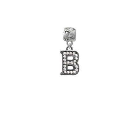 Black Nickeltone Crystal Initial - B - Beaded Border - Paw Print Charm Bead