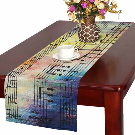MKHERT Old Music Notes Vintage Musical Background Table Runner Home Decor for Wedding Banquet Decoration 16x72 Inch - Music Note Decorations