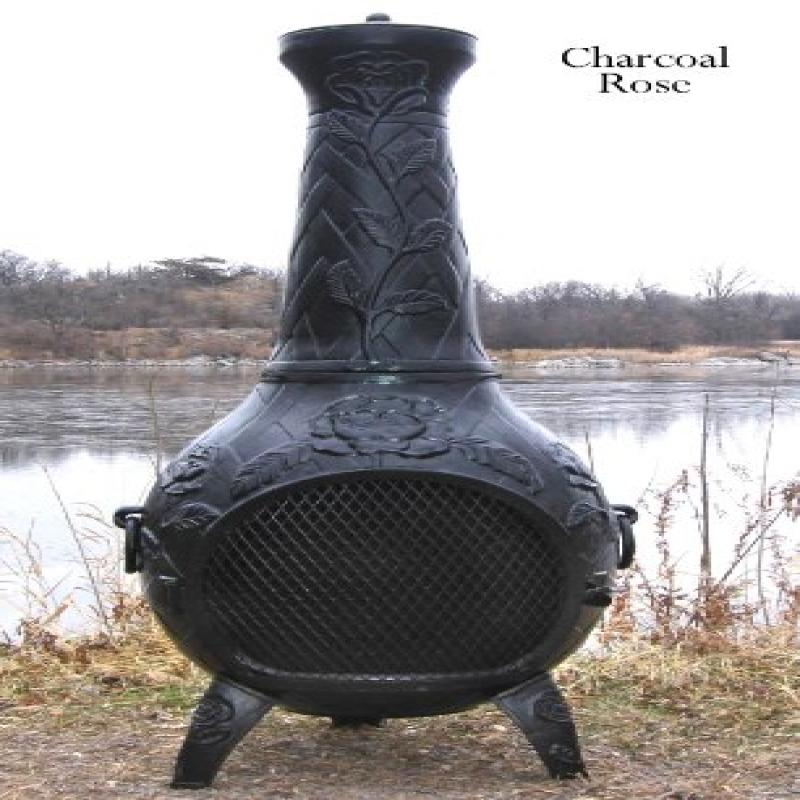 The Blue Rooster Co. Rose Style Cast Aluminum Wood Burning Chiminea in Charcoal. by