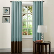 Prima Blue/Chocolate Window Curtain Set 54x84