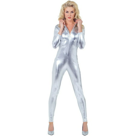 Stretch Silver Adult Halloween Jumpsuit - Silver Lake Ohio Halloween