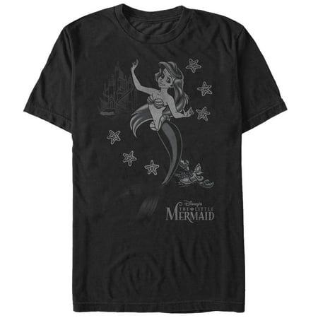 The Little Mermaid Men's Ariel Grayscale T-Shirt - Mens Little Mermaid Shirt