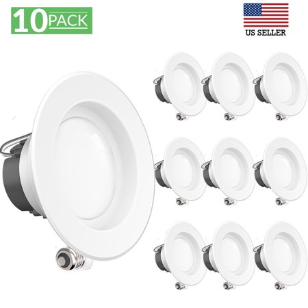 Sunco Lighting 10 Pack 4 Inch Smooth Recessed Retrofit Kit LED Light Fixture, 11W (40W Replacement), 4000K Kelvin Cool White, 660 Lumen, Dimmable, Quick/Easy Can Install, Wet