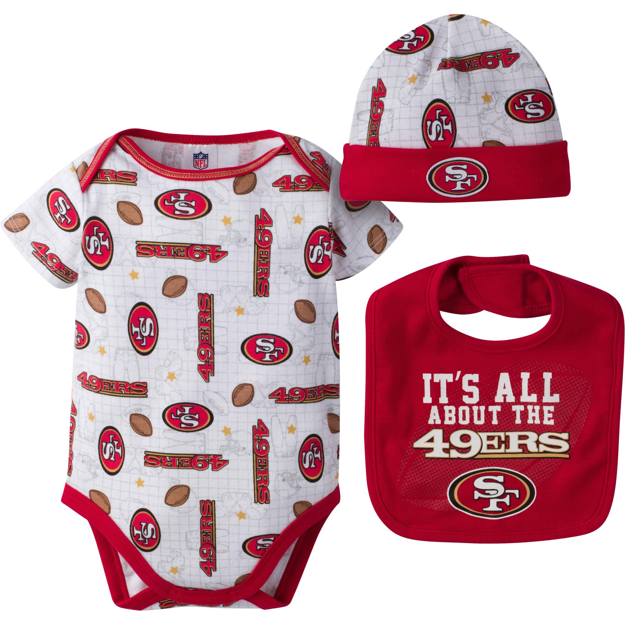 NFL San Francisco 49ers Baby Boys Bodysuit, Bib and Cap Outfit Set, 3-Piece