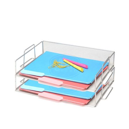 Rebrilliant Bevins Steel Mesh Stackable Letter Paper Holder Shelf Tray Desktop Organizer (Set of 2)