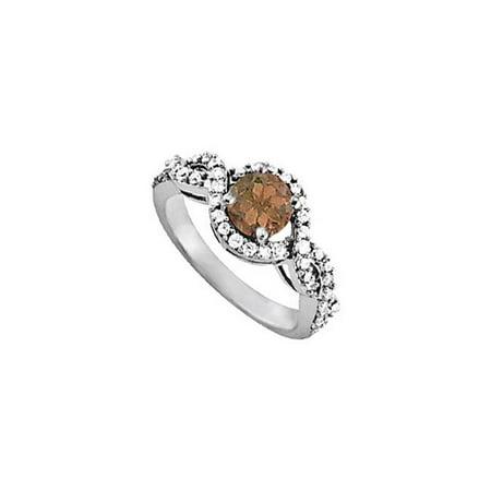 Fine Jewelry Vault UBNR83893AGCZSQ Pretty Smoky Quartz & CZ Ring - 1.50 CT TGW , 42 Stones ()