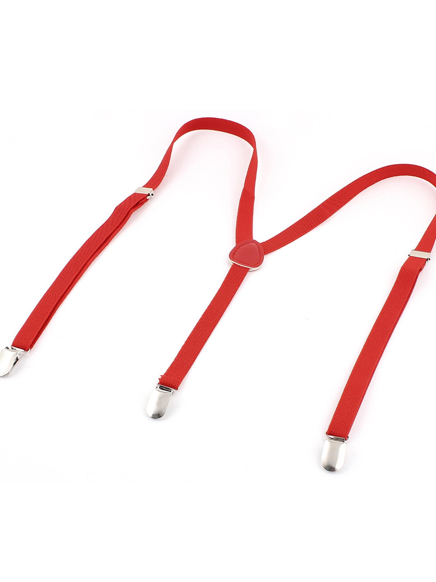 Man 1.5cm Wide Adjustable Stripe Partten Stretchy Suspenders Braces Red