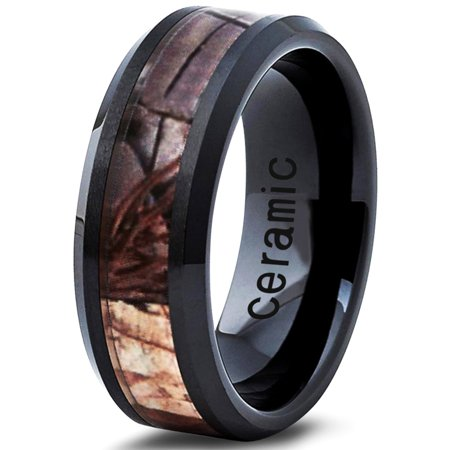 Ceramic Ring 8mm for Men Women Black Hunter Deer Army Ceramic Band Comfort Fit Camo Beveled Edge Brushed Polished Lifetime (Polished Beveled Band)