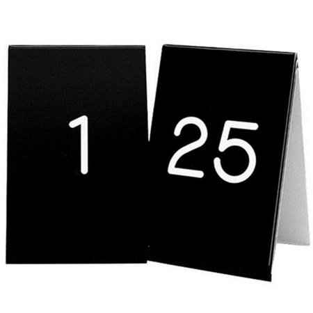 Cal Mil Number Tents - Cal Mil 271A-2 3.50 x 5 in. Black with White 1-25 Number Tent Set