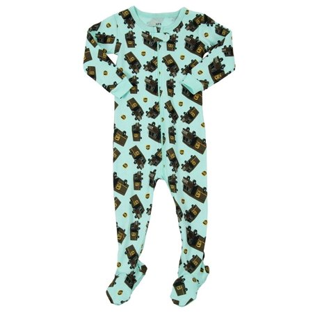 Leveret UPS Truck Footed Pajama Sleeper 100% Cotton Aqua 2 Years