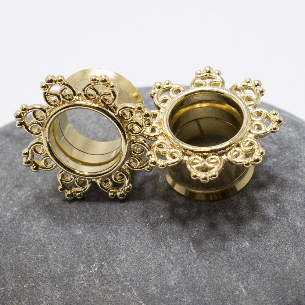 Pair of 14K Gold Plated Ear Piercing Tunnels Tribal Hearts Filigree Design