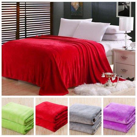 Luxury Reversible Blanket New Soft Solid Warm Micro Plush Flannel Fleece Blanket Throw Rug Sofa Bedding
