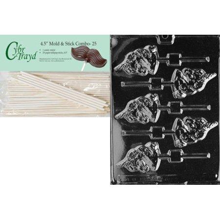 Cybrtrayd 45St25-A008 Unicorn Lolly Animal Chocolate Candy Mold with 25 4.5-Inch Lollipop Sticks