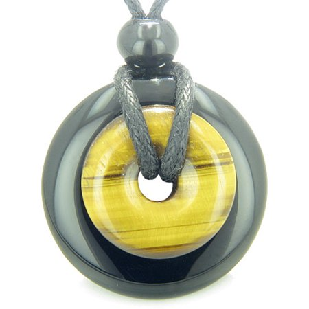 (Amulet Magic Donuts Black Agate Tiger Eye Protection Healing Powers Pendant Necklace)
