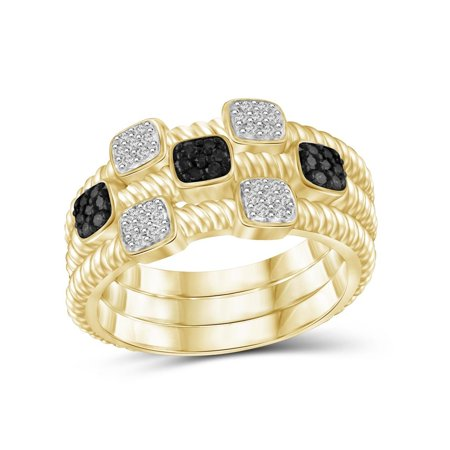 JewelersClub 1/5 Carat T.W. Black And White Diamond 14K Gold Over Silver Stackable Ring