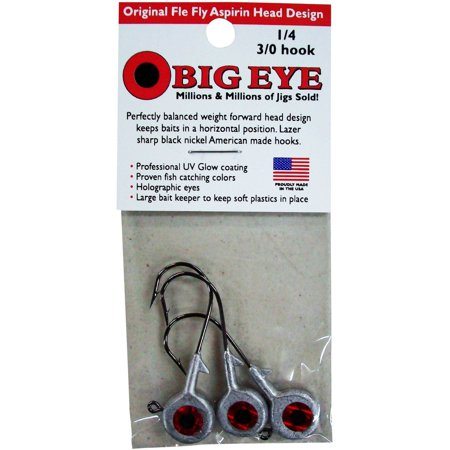 - Fle-Fly Big Eye Jig Head, 1/4 oz, Natural