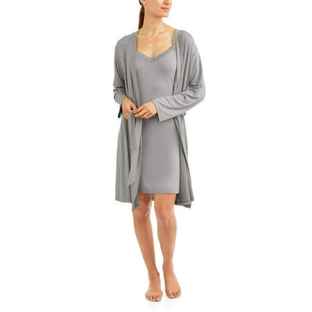 cbf973cdb61fe Nurture by Lamaze - Maternity 2-Piece Nursing Chemise and Robe Set --  Available in Plus Size - Walmart.com