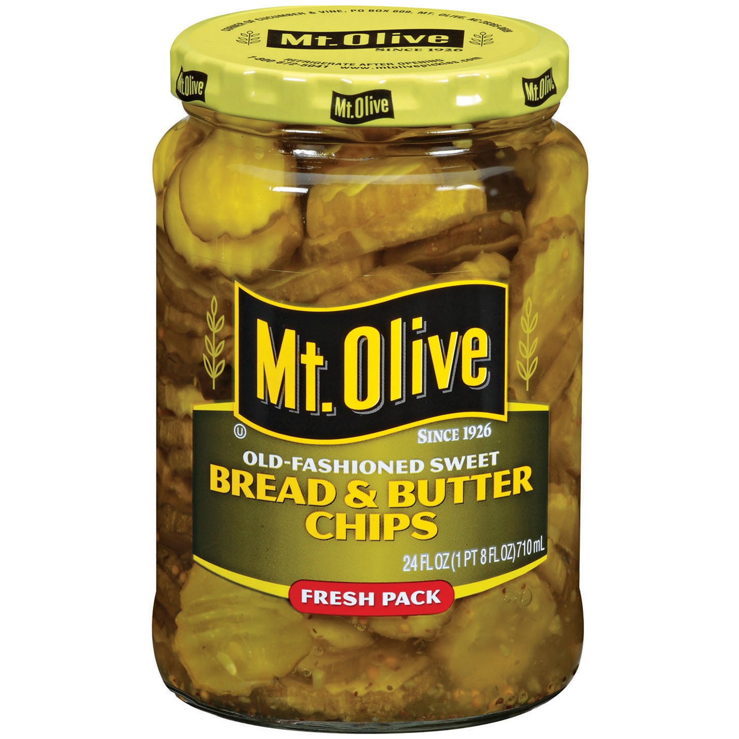 Mt. Olive Bread & Butter Chips Old Fashioned Sweet Fresh Pack Pickles 24 fl. oz. Jar