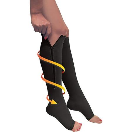 1814a8db2c5 Zipper Pressure Compression Socks Support Stockings Leg - Open Toe Knee High  - 20-30mmHg - Helps Circulation