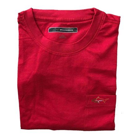 Greg Norman Casual T Shirt with Pocket (Large, Red)