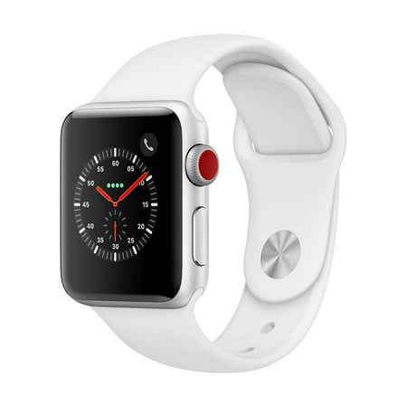 Apple Watch Series 3 GPS + Cellular - 38mm - Sport Band - Aluminum Case -Silver/White