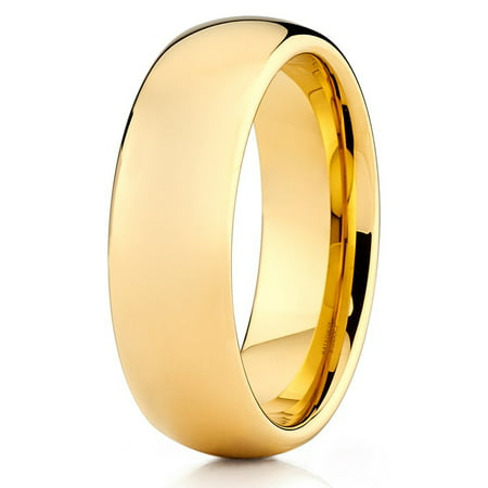 5mm Tungsten Ring 18K Yellow Gold Wedding Band Tungsten Carbide Ring Shiny Polish Dome Comfort Fit Men &