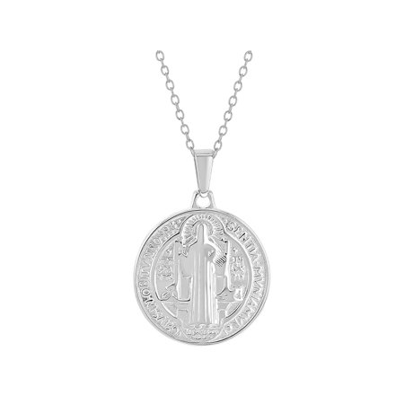 925 Sterling Silver Saint Benedict Small Protection Catholic Medal Necklace 19