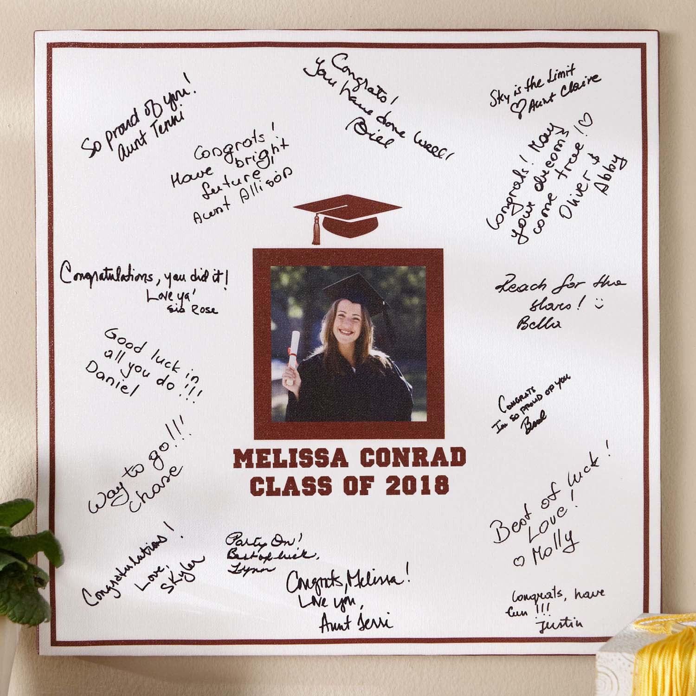 """Personalized Graduation Photo Autograph 16"""" x 16"""" Canvas"""