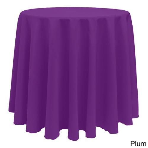 Solid Color 90-inches Round Vibrant Tablecloth PLUM