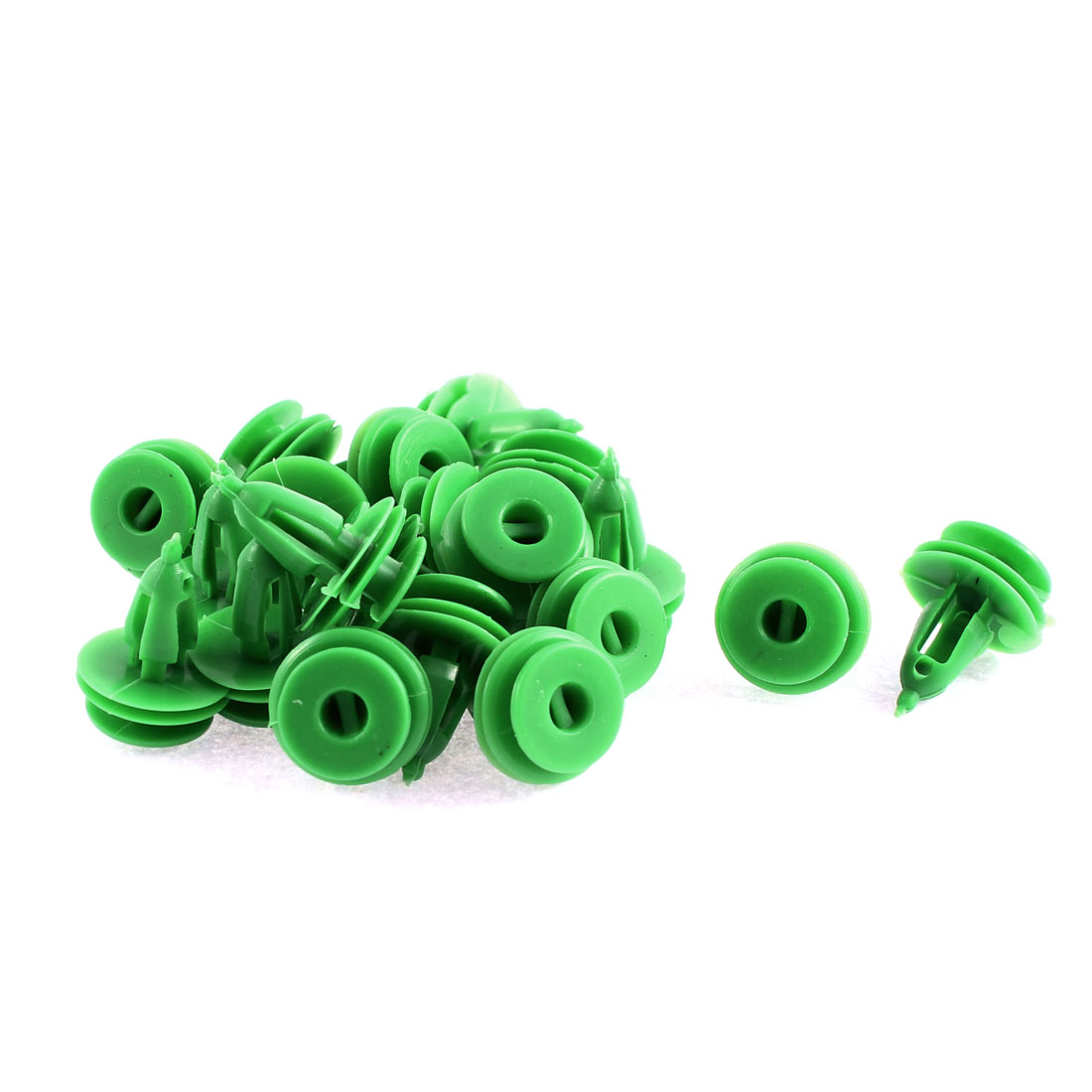 Unique Bargains 20 Pcs Green Plastic Door Trim Interior Weatherstrip Mat Rivet