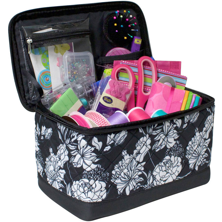 "Deluxe Sewing Box, 10.75"" x 6.75"" x 6.5"", Black and White"