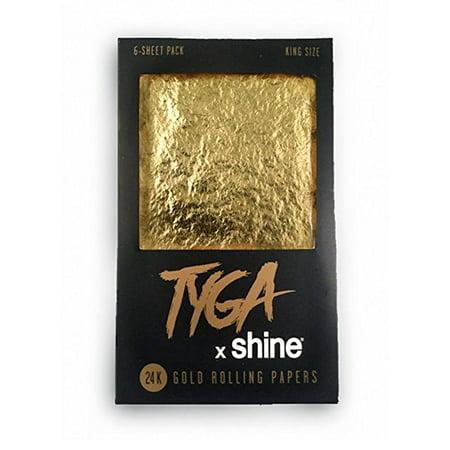 Shine Tyga 24K Gold King Size Rolling Papers 6 Sheet Pack (Shine Paper)