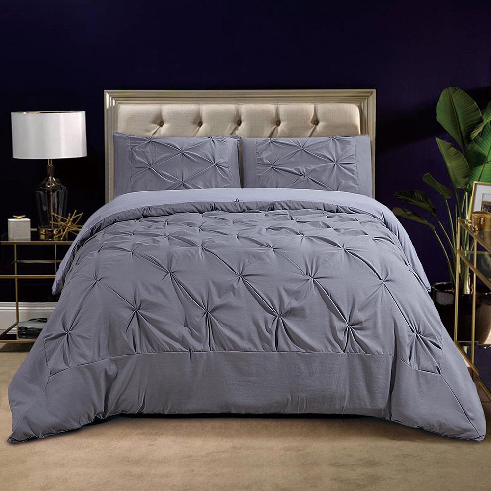Yescom King/Queen Pinch Pintuck Pleated Comforter Shams Sets Soft Non-glue Cotton Filling Quilt Home Bedding