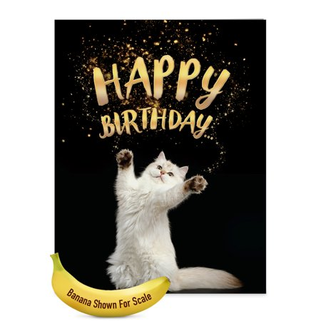 J6112ABDG Jumbo Birthday Card Cat Sent Greetings With Envelope Size 85 X 11