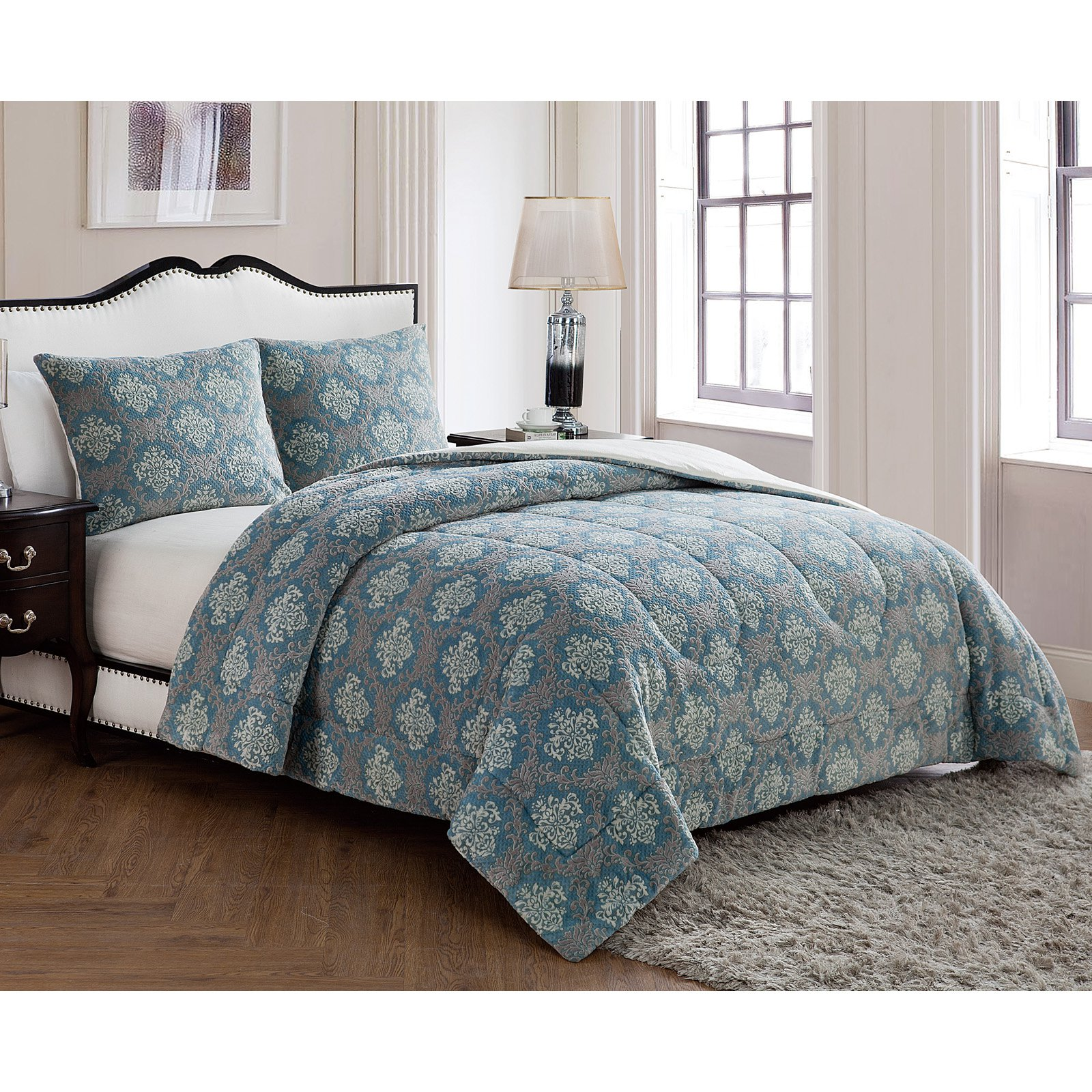 Jaquard Damask 3-Piece Comforter Set