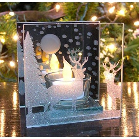Reindeer Candle Holder (Christmas Candle Holder - Glittery Holiday Scene with Reindeer and)