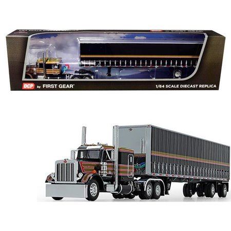 First Gear 60-0753 Peterbilt 359 with 63 Flattop Sleeper Cab with 53 ft. Utility Tautliner Spread-Axle Trailer Black with Gold & Red Stripes 1-64 Diecast Model