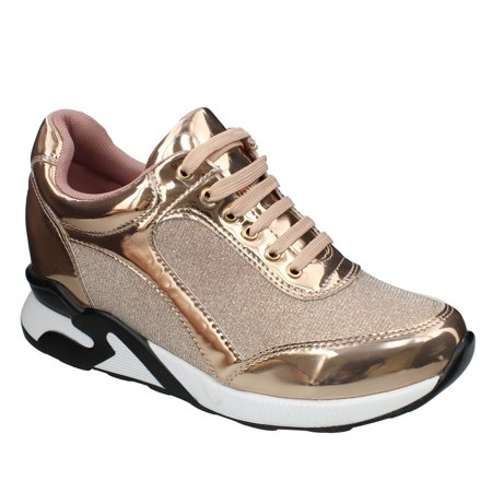 (Moca Sports-02 Women's Casual Two Tone Faux Patent Leather With Glittered Fabric Sneaker, Rose Gold 7 F US)