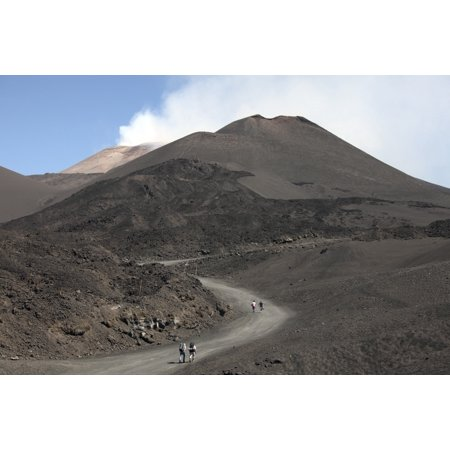 Hikers walking towards summit area of Mount Etna volcano Sicily Italy Stretched Canvas - Richard RoscoeStocktrek Images (18 x