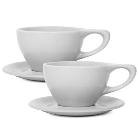notNeutral 12oz Porcelain Latte Cups with Saucers | for Specialty Coffee Drinks, Latte, Cafe Mocha and Tea | for Personal, Restaurant, Commercial Use | Set of