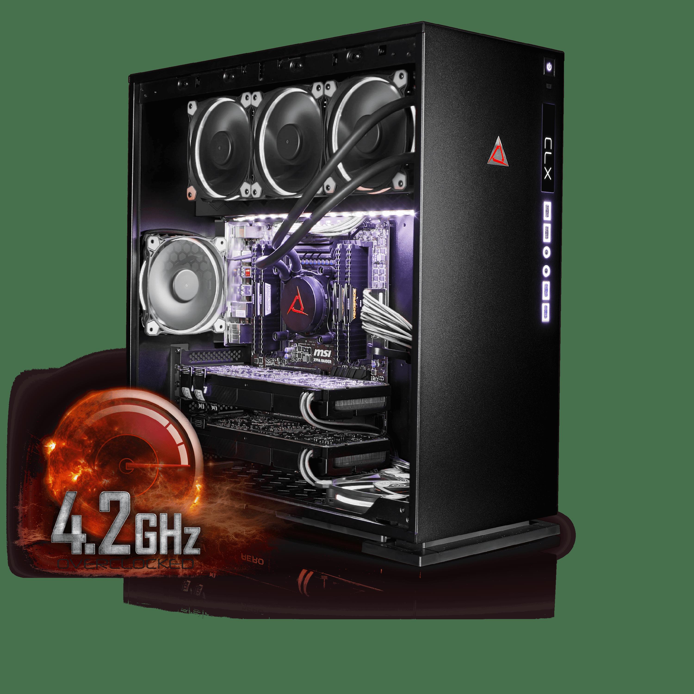 Cybertron CLX SET High Performance Gaming PC(Black/White)-Liquid Cooled Intel i9 7900X 3.3GHz 32GB DDR4 4TB HDD 480GB SSD DUAL NVIDIA GeForce GTX 1080 8GB in SLI MS Win 10