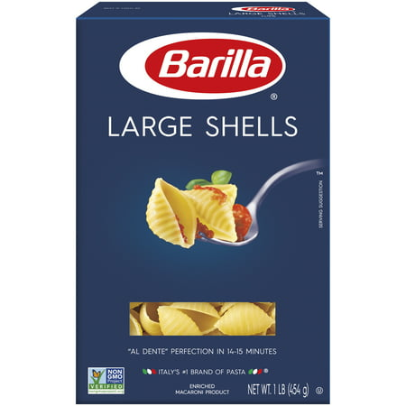 Barilla® Classic Blue Box Pasta Large Shells 16 oz At Barilla, we're passionate about pasta. After all, we have been pasta makers since 1877. As an Italian family-owned food company, Barilla pasta is synonymous with high quality and  al dente  perfection every time. Our Large Shells are made from the finest durum wheat and is non-GMO verified, peanut-free and suitable for a vegan or vegetarian diet. One of the more famous pasta shapes used for baking, Large Shells were inspired by the seaside towns of Naples and Genoa, with a shape resembling that of a sea shell. Large Shells hold their  al dente  texture when served with vegetable-based sauces as well as hearty meat- or tomato-based pasta sauces.