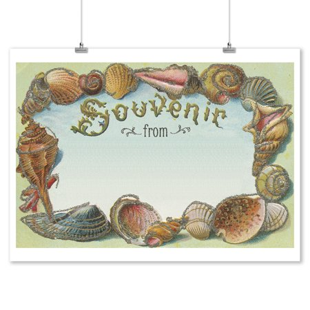 Shells Souvenir - Vintage Postcard - Lantern Press Artwork (9x12 Art Print, Wall Decor Travel Poster)