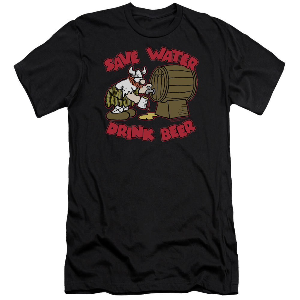 Hagar The Horrible Save Water Drink Beer Mens Slim Fit Shirt