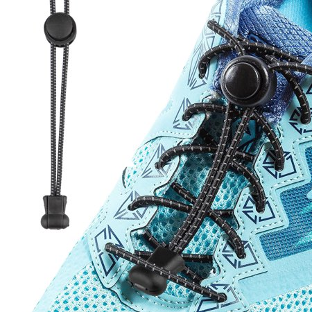 TSV 1 Pair No Tie Shoelaces Elastic Lock Shoe Laces Running Jogging Canvas Sneakers Trainer