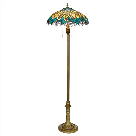 Art Nouveau Lamp Pattern - Design Toscano Art Nouveau Peacock Tiffany Style Stained Glass Floor Lamp