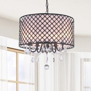The Lighting Store Carina Antique Black Finish Drum Shade Crystal Chandelier