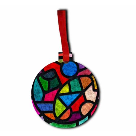 Geometric Stained Glass Design Jacks Outlet TM Hardboard Hanging Holiday Tree Ornament Made in the U.S.A.](Stained Glass Ornaments)