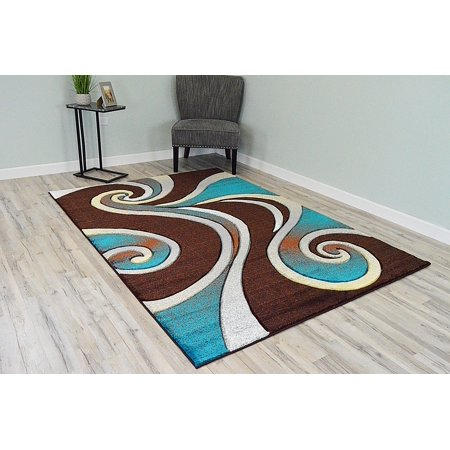 PREMIUM 3D Hand Carved Modern 8X10 8X11 Rug Contemporary 327 Brown Turquoise ()
