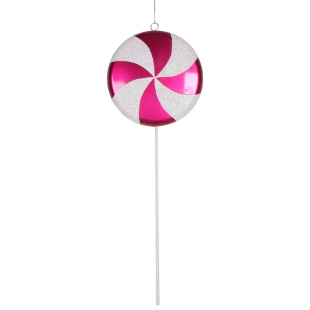 Large Cerise Pink and White Twist Candy Lollipop Christmas Ornament Decorations 24